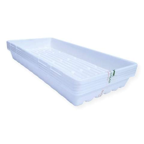 1020 Trays White Extra Strength - 10 Pack No Hole - Seed Starter Flats for Fodder, Microgreen, Seedling Propagation Growing by Bootstrap Farmer