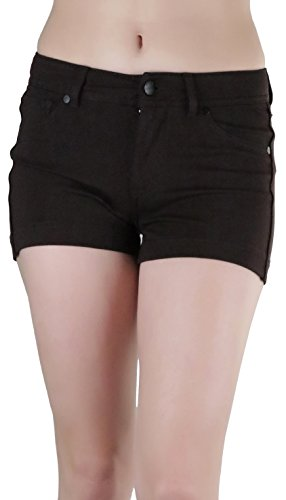 ToBeInStyle Women's Five Pocket Solid Ponte Short Pants - New Brown - Medium (Womens Shorts Brown)