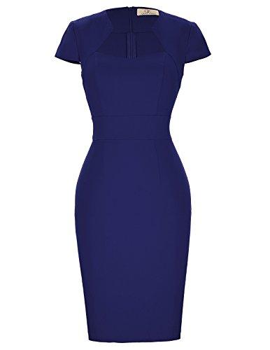 Pencil Skirt Dress (Paul Jones®Dress 1950s Women Cap Sleeve Knee-Length Bodycon Cocktail Pencil Dress Size L Navy Blue)