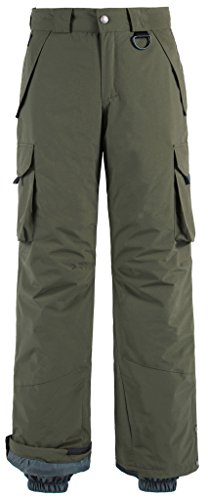 Wantdo Men's Waterproof Warm Padding Insulated Snow Pants Cargo Pants Large Army Green ()