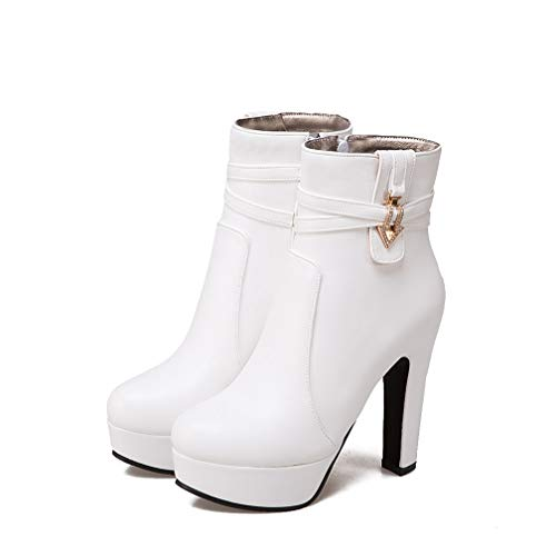 ChyJoey Women High Heel Platform Ankle Booties Zipper Mental Studded Strap Round Toe Lady Pumps Short Boot White