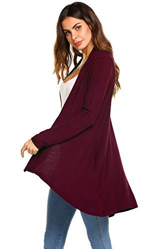 POGTMM Womens Casual Autumn Loose Knit Solid Sweater Cardigan (Wine Red, US XXL(20-22)) ()