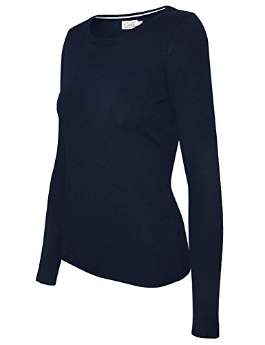 Cielo Women's Solid Soft Stretch Crewneck Pullover Knit Sweater Navy ()
