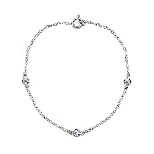 Sterling Silver Cubic Zirconia Station Dainty Chain Bracelet ()