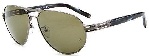 MontBlanc MB401S 15B Men's Classic Aviator Full-Rim Sunglasses, Silver Grey Frame / Cyan Lens 62MM