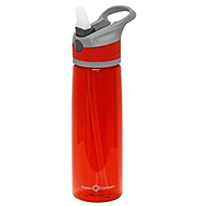 Green Canteen PTB-600-GRR Single Wall Tritan plastic Red Bottle with Gray/Red Push Button Flip Cap with Dark Gray Accents, 24 oz