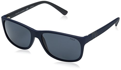 Polo Ralph Lauren Men's Injected Man Rectangular Sunglasses, Matte Blue, 59 - Ralph Shades Lauren
