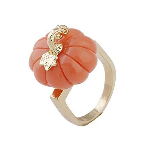(DTZH Rings Jewellery Ladies Ring Fruit Cute Three-Dimensional Pumpkin Gold Ring)