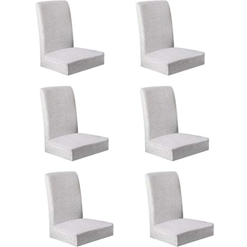 BROSCO 6Pcs Elastic Chair Cover Polyester Wedding Anniversary Home Decor LightGray ()