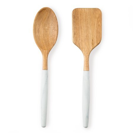 Thyme & Table 2 Piece Acacia and Silicone Marble Utensil (2 Piece Acacia Silicone)