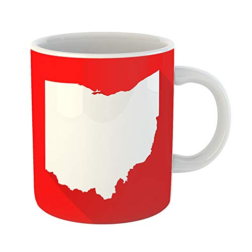 Emvency Funny Coffee Mug Abstract Ohio White Map Border Flat Simple Style with Long Shadow on Red Color 11 Oz Ceramic Coffee Mug Tea Cup Best Gift Or -