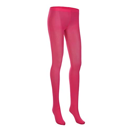[NovaLava] Womens Semi Opaque 80 Denier Footed Pantyhose Tights Hot Pink, One Size