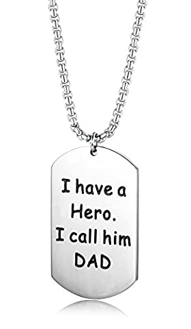 LOYALLOOK Stainless steel Dog Tag Pendant Necklace I have a Hero I Call Him DAD Father's Day Gift for Dads 24