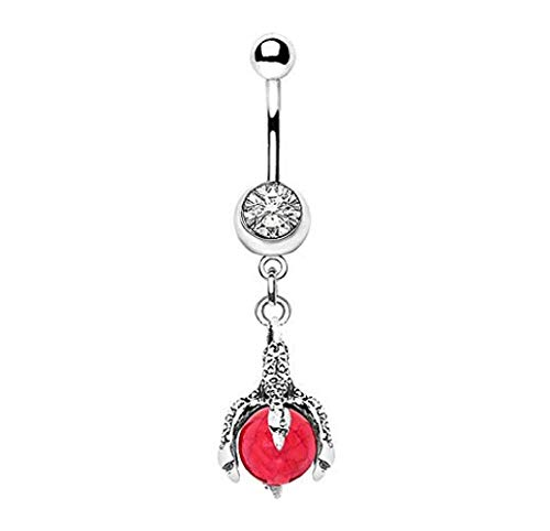 Freedom Fashion 316L Surgical Steel Antique Dragon Claw and Stone Orb Navel Ring (Sold by Piece)
