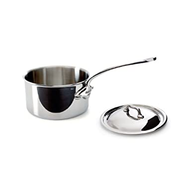 Mauviel Made In France M'Cook 5 Ply Stainless Steel 5210.17 1.9 Quart Saucepan with Lid, Cast Stainless Steel Handle