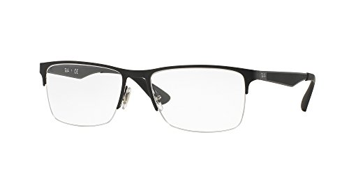 Ray-Ban RX6335 Rectangular Metal Eyeglass Frames, Matte Black/Demo Lens, 54 ()
