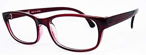 【おうちメガネ/度付き 】1.67超薄非球面レンズ,軽量フレーム,度付き眼鏡,近眼対応, 家メガネ,UVカット,男女兼用,M916,赤,ワイン (60, -5.50)