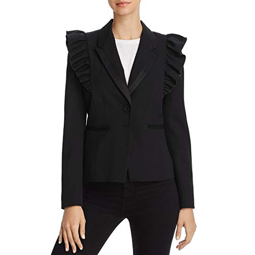 Rebecca Taylor Women's Ruffle Wool Jacket, Black, 4 ()