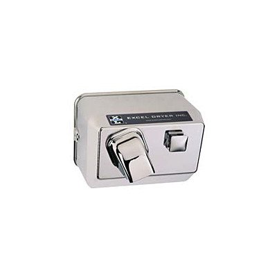 Excel Dryer 76-C Hand Dryer Hands On, Push-Button, Cast Cover, Surface-Mounted, Chrome Plated, 110-120V 60Hz