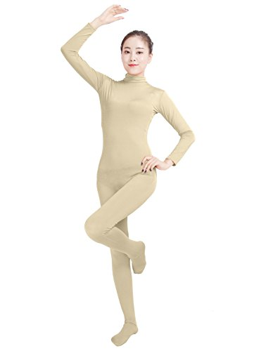 [Ensnovo Womens Lycra Spandex Zentai Suits One Piece Footed Unitard Nude,M] (Full Body Color Suits)
