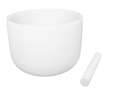 White Frosted Singing Bowls F Note Crystal Singing Bowl Heart Chakra 8 Inch Best Quality Suede Mallet Included