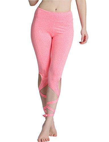 OVESPORT Women Yoga Leggings High Waist Workout Dance Pants with Ballet Ribbon (2088M, Pink)