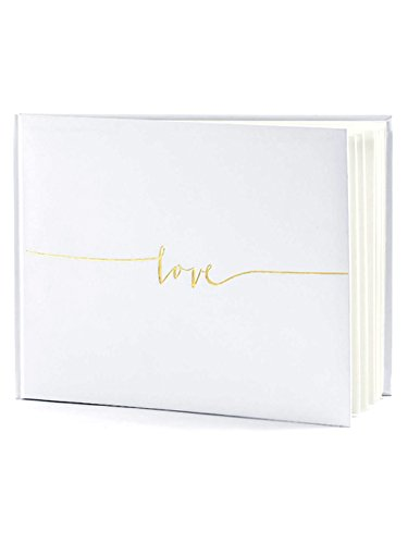 Wedding Use Camera - Off White Wedding Guest Book- Love in gold letters 24 x 18.5cm