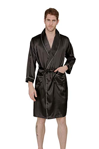 Mens Black Robe (MAGE MALE Men's Summer Luxurious Kimono Soft Satin Robe with Shorts Nightgown Long-Sleeve Pajamas Printed Bathrobes (Black,)