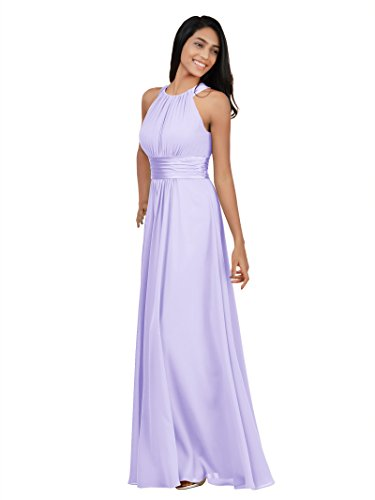 (Alicepub Maxi Bridesmaid Dresses Long for Women Formal Halter Evening Wear Satin Empire Party Prom Gown, Lilac, US8)