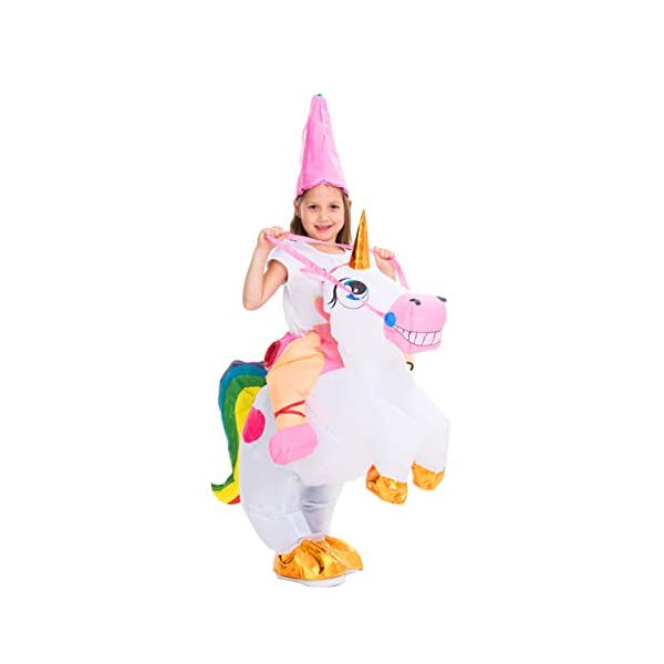 Spooktacular Creations Inflatable Costume Unicorn Riding a Unicorn Air Blow-up Deluxe Halloween Costume 3