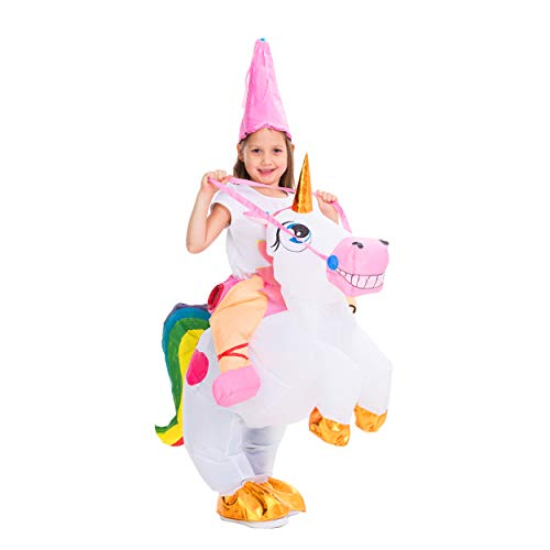 Funny One Year Old Halloween Costumes (Spooktacular Creations Inflatable Costume Unicorn Riding a Unicorn Air Blow-up Deluxe Halloween Costume (4-6 Yrs) Pink and)