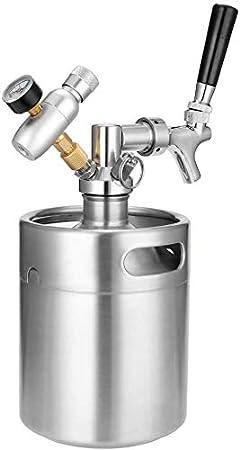 HYLH 2L Mini Barril Cerveza Acero Inoxidable,con Grifo Dispensador Sistema Cultivo Cerveza Artesanal