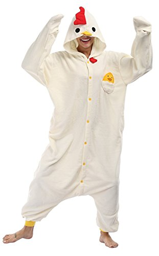 Apiidoo Unisex Chicken Pajama One Piece Cartoon Halloween Animal Costume Outfits L