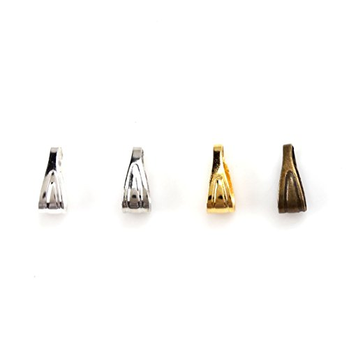 Bail Clip (MEIBEADS 200pcs/lot 3mm7mm Pinch Clip Clasp Bail Metal Finish Necklace Clasps Pendant Clasps(Gold))