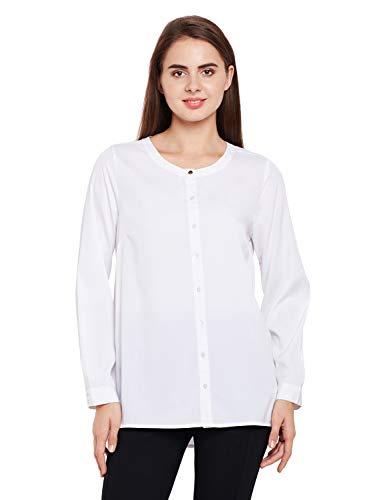 oxolloxo Women's Round Neck Polyester Full Sleeves Shirt (White)