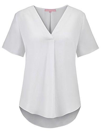 Regna X Womens Short Sleeve V Neck Sheer Curved Hem Casual Blouse Tunic White XL