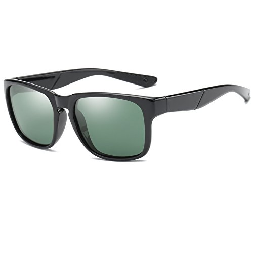 Retro Polarized Sunglasses For Men Women ,Classic Wayfarer Sunglasses -Uv400 Protection (Dark Green Lens Black Frame, - Wayfarer Sunglasses Tint Dark
