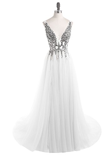 2019 Prom Dresses Deep V Neck Sequins Tulle and Lace Sex High Split Long Evening Dresses HFY170503-White-US8