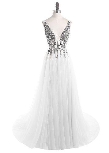 Prom Dresses Deep V Neck Sequins Tulle and Lace Sex High Split Long Evening Dresses HFY170503-White-US14