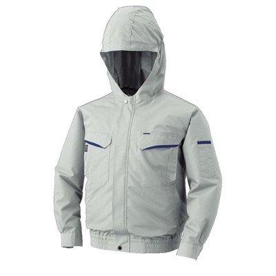 空調服 フード付綿ポリ混紡 長袖ワークブルゾン リチウムバッテリーセット BK-500FC06S2 シルバー M[通販用梱包品] B07DGV2JQ6