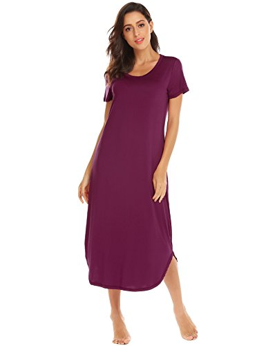 Knit Gown - Acecor Womens Modal Knit Nightgown, Oversized Loose Fit Sleep Gown