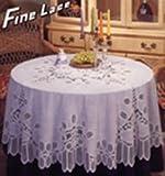 "Battenberg Vinyl Lace Tablecloth 70"" Round, White"