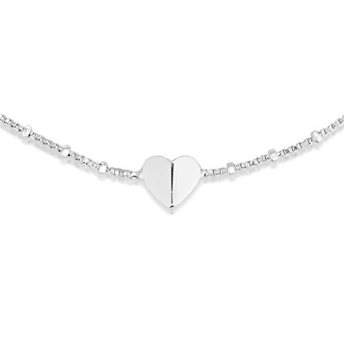 (Unique Royal Jewelry 925 Sterling Silver Heart Ankle Bracelet On A Continuous Adjustable Length Chain. (Rhodium-Plated Silver))