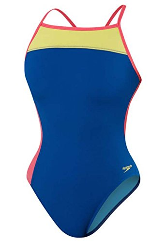 Speedo Color Block Endurance Lite Extreme Back Female Blue 34 by Speedo