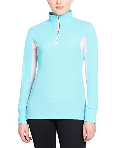 TuffRider Womens Ventilated Technical Long Sleeve Sport Shirt with Mesh | Color - Aqua | Size - Medium
