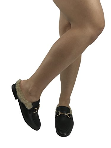 Paprika Low Heel Loafers Toe W Back Closed Mule Women's Fur Open Slip Black Backless on 8r80nq