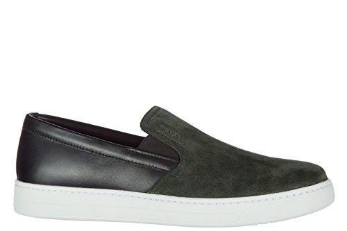 Prada Herren Wildleder Slip On Slipper Sneakers Schwarz