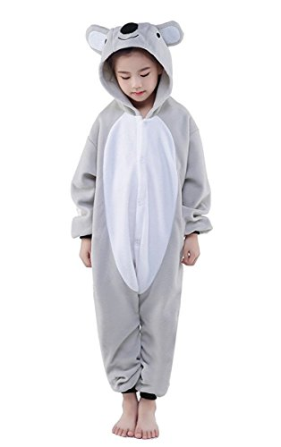 Goldtry Soft Flannel Kids Cosplay Costumes Animal Pajamas Cute Cartoon Jumpsuits (85#, Grey Koala) ()