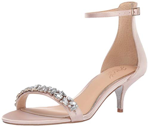 Jewel Badgley Mischka Women's Dash Sandal, Champagne Satin, 7.5 M US