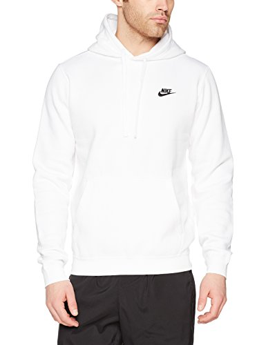 Nike Mens Sportswear Pull Over Club Hooded Sweatshirt - Medium - White/Black